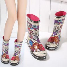 Cute Cartoon Girl Rain Boots Female Rubber Rainboots Thermal Slip-Resistant Rain Shoes Overstrung Middle Rain - http://bootsportal.net/?product=cute-cartoon-girl-rain-boots-female-rubber-rainboots-thermal-slip-resistant-rain-shoes-overstrung-middle-rain