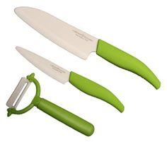 Malibu 4-Inch Blade Paring, 5-1/2-Inch Blade Santoku Knives and Peeler in White Ceramic Zro2 Blade, Green Color ABS Softgrip Handle by Laguna Cutlery. $77.59. There is no frequently blade shaping job required; The ceramic blade will stay sharpness much longer than a normal steel blade. The non-metallic Ceramic blade material will not transfer food odor, tarnish or rust; It will maintains the freshness of food. The Razor-sharp ceramic blade makes the job of slicing p...