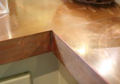 Lilliedale: DIY Copper Countertops @Kristin Brown wonderful quality and finish for a domestic (or commercial bar top) kitchen