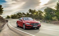 Mercedes-Benz E-Class Coupe, road, 2017 cars, supercars, red, movement, Mercedes