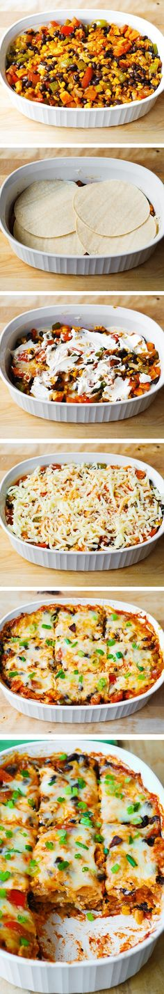 Black Bean and Butternut Squash Enchilada Casserole – a delicious, super easy to make dinner recipe!  If you love Mexican food or Southwestern recipes, you'll love this!  Gluten free! JuliasAlbum.com #easy #dinner