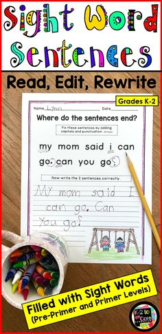 Provide your beginning/emergent readers and writers in kindergarten, first, or second grade with capitalization and punctuation practice, as well as lots of work with sight words. All Pre-Primer and Primer sight words are used, most three times or more. Each editing and writing practice page has 2 sentences with missing capitals and punctuation. Your students' job is to figure out where the sentences end, edit the sentences, and then rewrite them correctly. Please click for more details!
