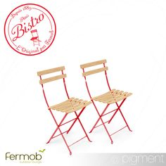 Fermob Bistro Naturel Chair Pair with Wooden Slats - Pigment