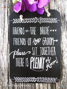 Chalkboard Wedding Seating Sign - No Seating Plan