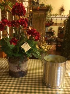 Primitive and Patriotic Geraniums DIY - turn a tin can into this summer arrangement.  From Gatherings at Muncy Creek Barn Works.