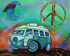 A cute hippie van full of love and peace journeys to a psychedelic world in this artwork by Laura Barbosa. Acrylics and Spray Paint on Canvas. 24 × 30″ - 7 Day Auction - ( NO RESERVE ) $49 PLUS $25...