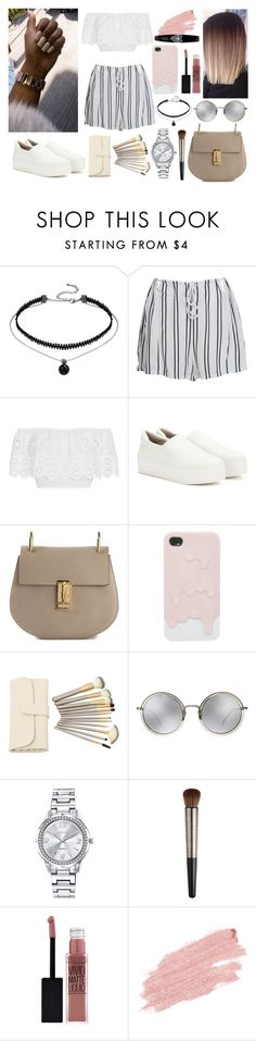 """without me"" by zeresxoxox on Polyvore featuring WithChic, Miguelina, Opening Ceremony, Chloé, Linda Farrow, Mestige, Urban Decay, Maybelline, Jane Iredale and heymamalova"