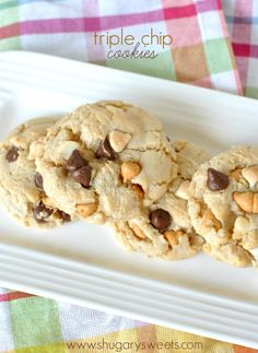 Triple Chip Cookies: filled with butterscotch, white chocolate and semi-sweet chocolate. Chewy and delicious!