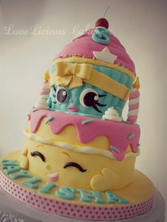 Shopkins cake www. Shopkins cake www. Shopkins Birthday Cake, Shopkins Cake, Girly Cakes, Cute Cakes, Fondant Cakes, Cupcake Cakes, Novelty Cakes, Giant Cupcakes, Occasion Cakes