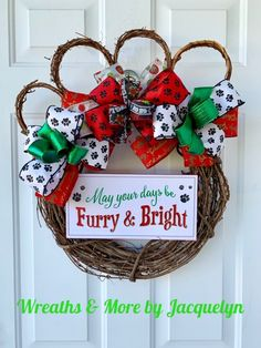 May Your Days Be Furry & Bright Christmas Pawprint Wreath Sign Pawprints Pet Dog Home Decor Dog Mom Parents Owners Sitters Vets Happy Holidays Red Green White Black Dog Lovers Front Door Decor Gifts Wreaths & More by Jacquelyn Christmas Animals, Christmas Dog, All Things Christmas, Christmas Wreaths, Christmas Decorations, Christmas Ornaments, Dog Home Decor, Dog Wreath, Wreath Crafts