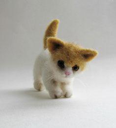 Needle felted kitten by HandmadeByNovember on Etsy