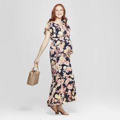 be499fdf37d Maternity Floral Print Flutter Sleeve Maxi Dress - Isabel Maternity by  Ingrid   Isabel Navy S