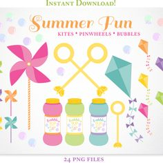 Summer Fun Pinwheels, Kites, and Bubbles Clipart | Kelly Jane Creative