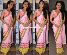 Sonakshi Sinha in a pink and yellow Manish Malhotra sari