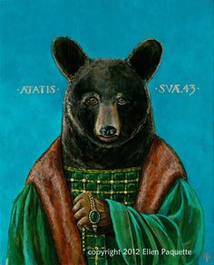 Renaissance Bear Portrait fine art print by EllenPaquetteArt