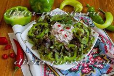 Зелёный салат из листового салата с перцем и чатни из редиса (2, 3, 4 этап диеты Дюкана)