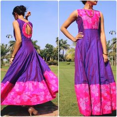 Recycle Old Sarees To Kurtis Saree Gown, Sari Dress, Anarkali Dress, Frock Dress, Saree Blouse, Indian Gowns Dresses, Indian Outfits, Indian Clothes, Kurta Patterns