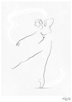 'Reach', Dancer Line Drawing Art Print by Kerry Kisbey | Society6