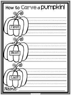 Halloween How to writing: Students write the steps for carving a pumpkin to make a Jack o' Lantern on this cute pumpkin themed writing paper.