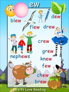 ew words Phonics Poster - FREE & PRINTABLE - For Auditory Discrimination, Exploring Letter Sounds, Literacy Groups or as a Phonics Word Wall Poster.