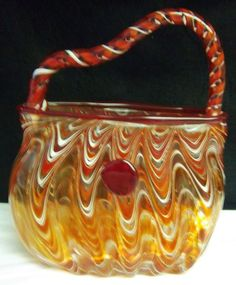 MURANO STYLE ART GLASS HAND BLOWN PURSE VASE CLEAR GLASS WHITE AND ORANGE 9 1/2