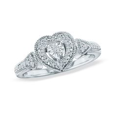 1/8 CT. T.W. Diamond Heart Promise Ring in Sterling Silver - Size 7 - Zales