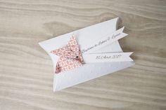 Boîte à dragées berlingot coussin + renard en origami papier orange - cadeau de remerciement invités  anniversaire, baptême, mariage