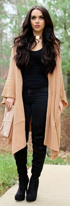 OVERSIZED SWEATERS & THIGH HIGHS / Fashion By  Carli Bybel