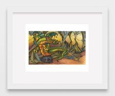 Dragon in Cave, Print, Color, Drawing, Illustration, Pen, Pencil, home, office, decor, wall art, art, artwork, fun by DouglasKnabStudios on Etsy