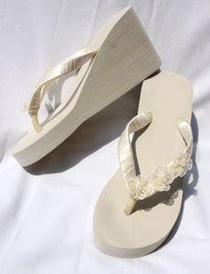 c7fb9455b9de Amazon.com  High Ivory Wedge Bridal Flip Flops with Organza Flowers  Shoes  Beach