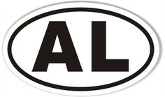 AL Alabama Euro Oval Sticker