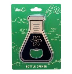 Flask Shaped Bottle Opener - Great Science Gift Use this handy tool to help you open your bottles with science style! Are you the science nerd among your friends? Are you majoring in biochemistry? Thi