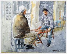 ORHAN GÜLER - Türkish Watercolor Artist Painter - Denizli Sarayköy Art Work Watercolor Artist, Art Work, Composition, People, Paintings, The World, Watercolor Artists, Roses, Watercolour