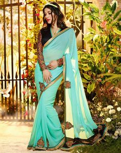 $56.77Aqua Georgette Party Wear Saree 56846