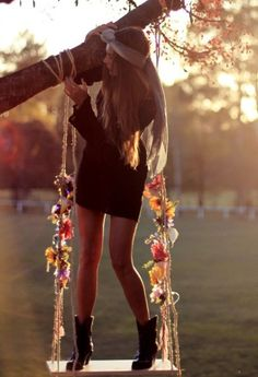 Oh my goodness, I NEED that swing in my yard NOW!!...Oh and the dress, and boots as well..yeah those too! ;)