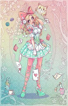 Lolita Alice In Wonderland from NoFlutter Art+Design Arte Do Kawaii, Kawaii Art, Pastel Goth Art, Princess Art, Image Manga, Creepy Cute, Disney Art, Cute Drawings, Cute Art