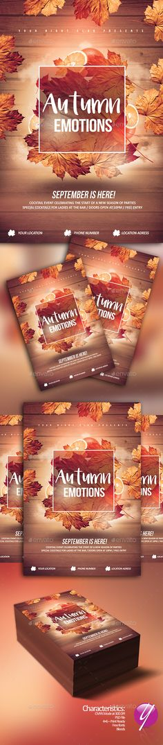Autumn Emotions Flyer Template PSD. Download here: https://graphicriver.net/item/autumn-emotions/17436175?ref=ksioks