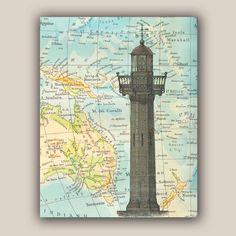 Nautical Print Lighthouse Print, 11x14 Print, vintage illustration Lighthouse on antique map of Australia Marine decor, map art