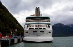 Rhapsody of the Seas docks in Skagway, Alaska.