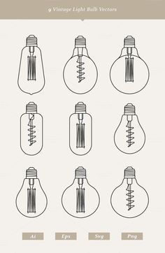 9 Vintage Light Bulb Vectors by Dreamstale on Creative Market