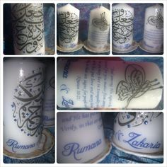 Personalized candles with couple's naames, chosen quranic ayah with English translation, and henna designs in the back. Embellished with blue gemstones! (This is the front view) Rumana & Zakaria