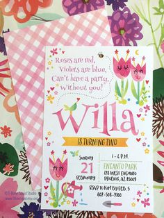 Our oh so cute Flower Garden invitation sets the stage for the sweetest party ever! Your little bug will love it.  This listing is for a digital, printable file of this 5 x 7 inch Flower Garden Invitation design. INSTRUCTIONS for purchasing: 1) Add this listing to your cart to purchase 2) When checking out, please include the following information in the NOTES TO SELLER box: - Child's Name and age - Event Date - Event Time - Event Address - Phone number for RSVP - Your file will be sent to…