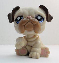 Littlest Pet Shop English Bulldog #1765 brown creamy tan dog loose