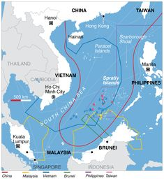 """""""It's no secret that China claims islands and maritime territory in the South China Sea that other countries see as theirs. But this map shows just how assertive China's claim is – Beijing claims everything in red, a giant scoop of an area way, way beyond Chinese soil. China's neighbors are very, very conscious of feeling a bit bullied, and this map shows why."""""""