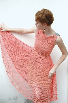 What a pretty crochet dress this is.