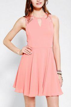 Sparkle & Fade Lattice-Shoulder Skater Dress