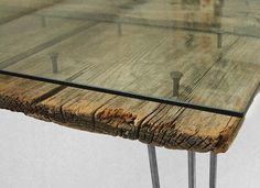 Glass table with barn wood, carriage bolts, and glass. Industrial Furniture, Wooden Furniture, Furniture Projects, Furniture Decor, Furniture Design, Furniture Removal, Barn Wood, Rustic Wood, Rustic Industrial