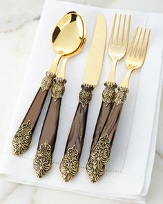 Shop Antiqued-Gold Versaille Flatware Service at Horchow, where you'll find new lower shipping on hundreds of home furnishings and gifts. Gold Flatware, Flatware Set, Kitchenware Set, Tableware, Serveware, Terracotta, Dessert Spoons, Kitchen Items, Home Decor Ideas