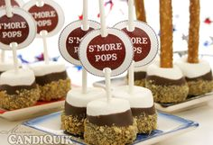 Super easy S'more Pops from Miss CandiQuik. Use either pretzel sticks or lollipop sticks. Poke the marshmallow with your choice of stick, dip in melted chocolate and roll in crushed graham crackers. Print the downloadable tags, punch the holes in them and slide them on to the sticks.