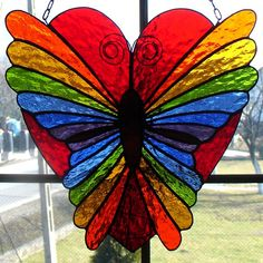 butterfly heart  - COLOURFUL STAINED GLASS B'FLY SUNCATCHER<3<3<3 #StainedGlassDragonfly